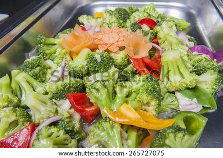 Closeup of stir fry vegetables meal on display at a chinese restaurant buffet - stock photo