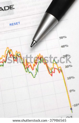 Closeup of stock chart showing losses with pen