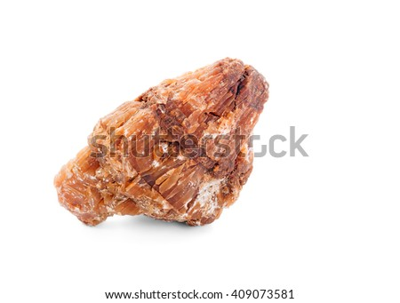 Closeup of Stone Marble Rock over White Background, Horizontal Shot