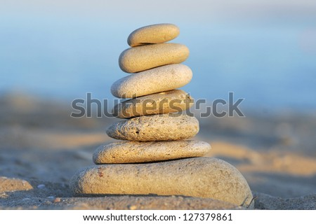 closeup of stone pyramid in sunlight