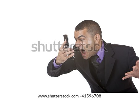 closeup of stressed businessman screaming in telephone. Isolated on white. - stock photo
