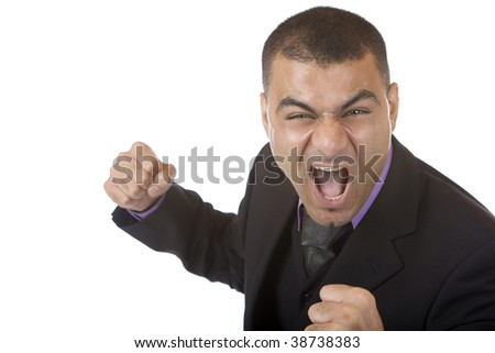 Closeup of stressed businessman which is close to hit somebody