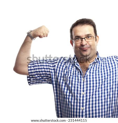 closeup of surprised nerd man - stock photo