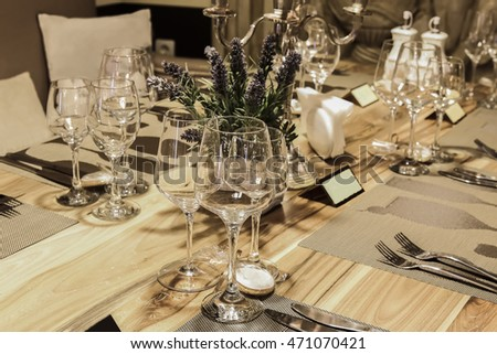 Closeup of table set served for wedding celebration