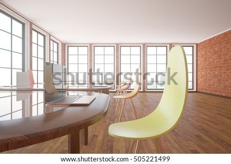 Closeup of table with laptop and chair in modern classroom interior. Workplace concept. 3D Rendering