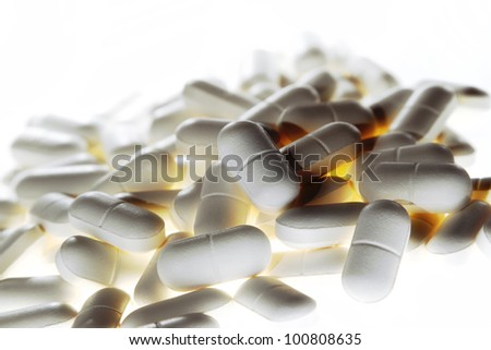 Closeup of tablets, copy space - stock photo