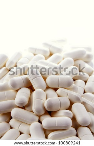 Closeup of tablets, copy space