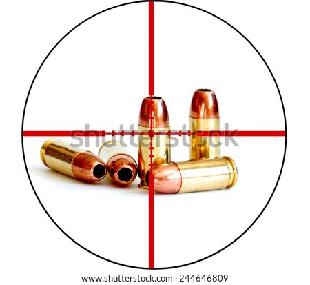 Closeup of tactical military bullets and magazine for gun with crosshairs to symbolize war on right to bear arms - stock photo