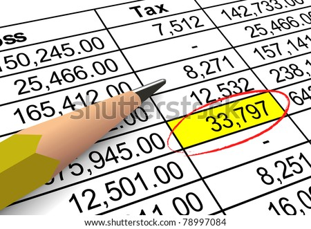 Closeup of tax deduction figures with large amount highlighted and circled. - stock photo