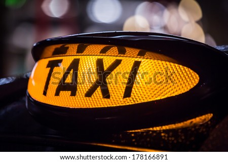 Closeup of Taxi sign in Scotland