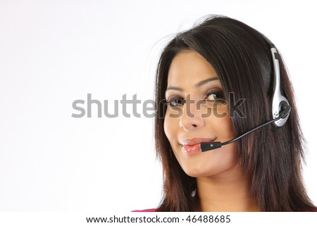 Closeup of Teenage girl with the microphone - stock photo