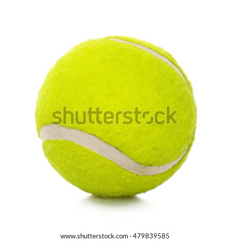 closeup of tennis ball isolated on white