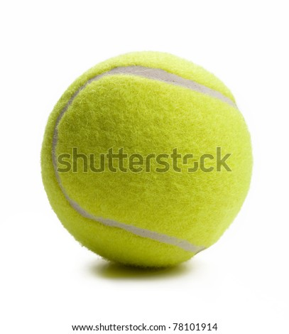 Closeup of tennis ball isolated on white background. - stock photo