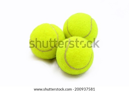 Closeup of tennis balls isolated on white background. - stock photo