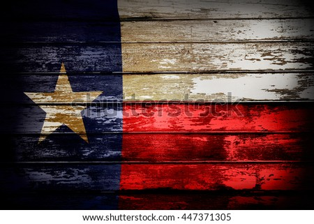 Closeup of Texas flag on boards - stock photo