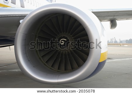Closeup of the airplane engine