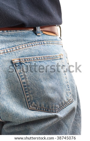 Closeup of the back pocket of a man wearing jeans, isolated on white. - stock photo