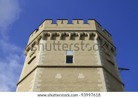 closeup of the Bayen tower in Cologne in Germany - stock photo