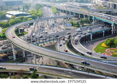 closeup of the city interchange in the early morning rush hour ,shanghai ,China  - stock photo
