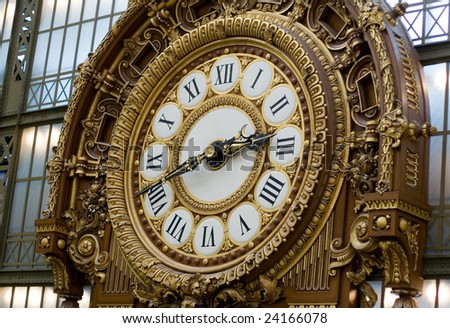 Closeup of the clock in the Orsay museum. Paris, France - stock photo