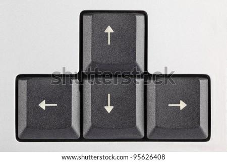 closeup of the computer arrow keys - stock photo
