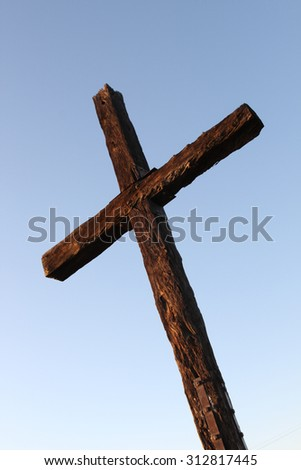 Closeup of the cross up on the hill in Ventura California. - stock photo