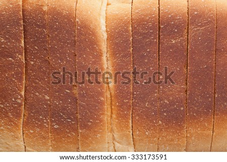 Closeup of the crust of a loaf of sliced bread