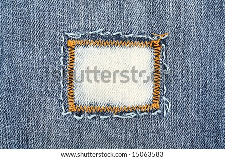 Closeup of the detail of blue jeans