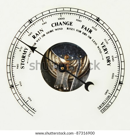 Closeup of the dial of an aneroid barometer set to stormy - stock photo