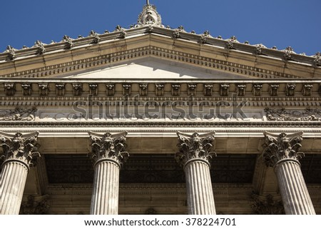 Closeup of the facade with columns of Congress. The National Congress in Buenos Aires, Argentina - stock photo