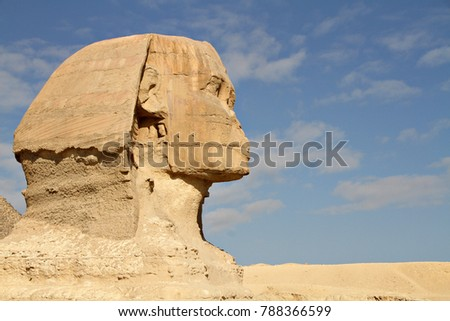 Closeup of the face of the Great Sphinx of Giza, an ancient Egyptian statue located in the Pyramid Complex near Cairo, Egypt.