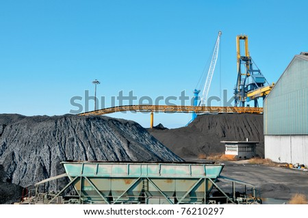 closeup of the facilities of a coal industry - stock photo