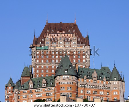 closeup of the famous chateau frontenac castle in old quebec city