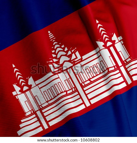 Closeup of the flag of Cambodia, square image