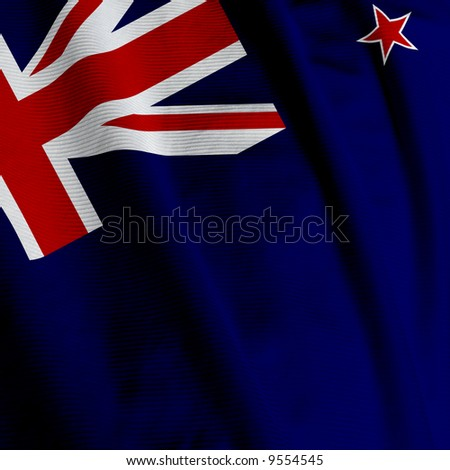 Closeup of the flag of New Zealand, square image - stock photo