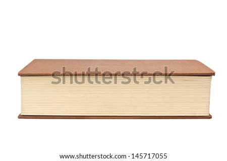 Closeup of the fore edge of a book isolated on white background  - stock photo