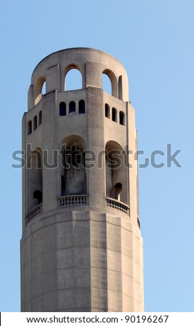 Closeup of the historical Coit Tower in San Francisco, California
