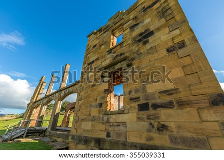 Closeup of the Hospital is a ruin sitting on the hill overlooking the settlement of Port Arthur Historic Site, UNESCO heritage, in Tasman Peninsula, Tasmania. - stock photo