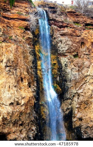 Closeup of the Lower Duden Waterfall on the coast of Antalya Turkey - stock photo