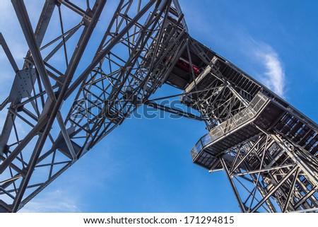 Closeup of the old mine shaft in Katowice, Silesia region, Poland. - stock photo