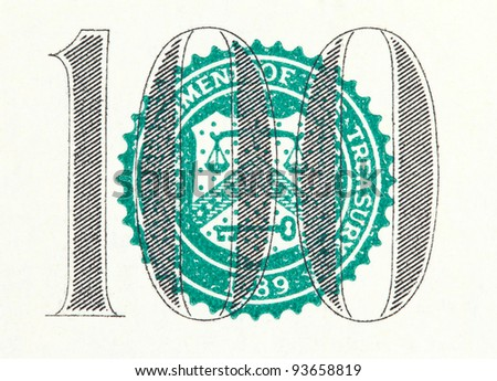 Closeup of the one hundred on a dollar bill - stock photo
