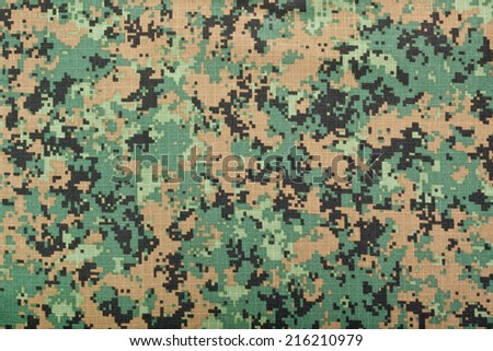 Closeup of the pattern of a digital camouflage fabric  - stock photo