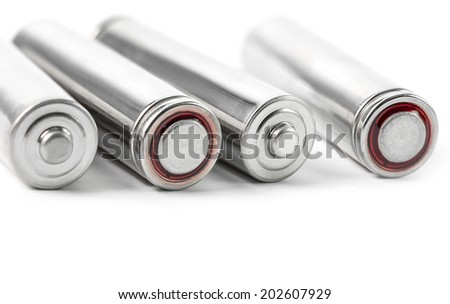 Closeup of the rechargeable dry battery - stock photo