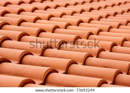 Elegant Closeup Of The Red Clay Roof Tiles