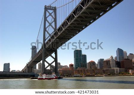 Closeup of the San Francisco-Oakland Bay Bridge - stock photo