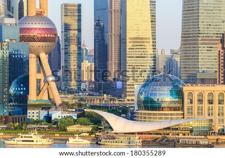 closeup of the shanghai lujiazui financial center at dusk  ,China  - stock photo