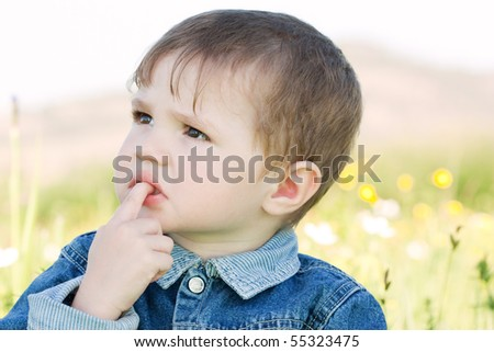 Closeup of the small child - stock photo