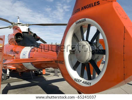 Closeup of the tail rotor of a rescue helicopter - stock photo