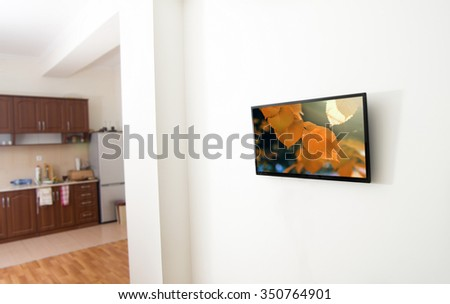 closeup of the tv screen in apartment
