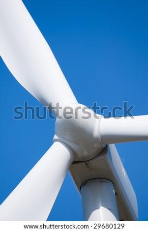 Closeup of the wind turbine hub - stock photo